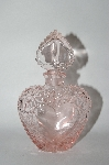 Vintage Pink Heart Shaped Perfume Bottle With Glass Stopper