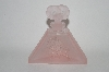 Vintage Pink Frosted Glass Rose Perfume Bottle