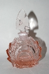 Vintage Fancy Pink Glass Perfume Bottle With Glass Stopper