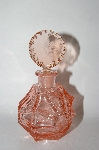Vintage Pink Glass Perfume Bottle With Etched Glass Stopper