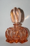 Vintage Made In Austria Large Pink Glass Perfume Bottle With Glass Stopper