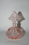 Vintage Fancy Cut Pink Glass Perfume Bottle