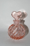 Vintage Pink Glass Perfume Bottle With Heart Shaped Glass Stopper