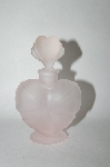 Vintage Frosted Pink Glass Heart Shaped Perfume Bottle