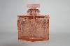 ** Vintage Beautiful Pink Glass Floral Etched Perfume Bottle