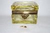 Vintage Yellow Glass Trinket Box