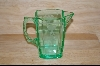 Unusual Green Small Etched Pitcher #4887