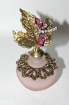Pink Frosted Glass Leaf Dragonfly Perfume Bottle
