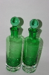 MBA #57-095    Set Of 2 Green & Clear Glass Bottles With Glass Stoppers