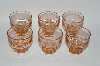 ** Vintage Pink Depression Glass Set Of 6 Small Bar Glass's