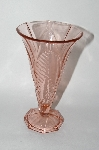 "**MBA #59-156   "" Vintage Dark Pink Depression Glass Leaf Patterned Vase"