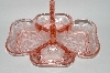 "**MBA #59-209  "" Vintage ""Gloria"" 4 Section Fancy Pink Depression Glass Relish Tray"