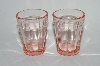 "**MBA #60-024   "" Pair Of Vintage ""Tumbler Look"" Pink Glass Shot Glass's"
