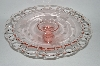 "**MBA #60-163  Vintage Pink Glass ""Jubilee"" 1930's Cake Plate"