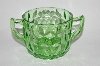 "Vintage Green Depression Glass ""Cube"" Pattern Sugar Bowl"