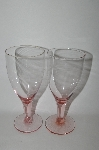 "**MBA #60-239   "" Set Of 4 Pink Vintage Glass Wine Glass's"
