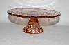"MBA #57-139   ""Reproduction Small Pink Glass Pedestaled Cake Salver"