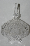 MBA #61-157    Very Fancy Crystal Strawberry Motief Large Candy Dish With Lid