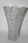 "MBA #61-134   "" Crystal ""Frosted Rose"" Fancy Cut Vase"""