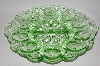 "MBA #GGF  ""Vintage Green Glass ""Fancy"" Deviled Egg Serving Dish"