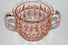 "**Vintage Pink Depression Glass ""Windsor Diamond"" Jannette Glass Sugar Bowl"