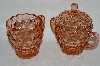 "**Vintage Pink Depression Glass ""Cube"" Cream & Sugar Set"