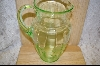 "10"" Green Glass Etched Pitcher #5046"