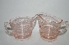 "** Vintage Pink Depression Glass ""Ring Style"" Cream & Sugar Set"