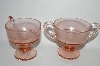 **Vintage Pink Carnival Glass Cream & Sugar Set