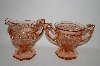 "** Vintage Pink Depression Glass ""Fancy"" Cream & Sugar Set"