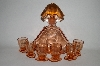 "**Vintage Pink Depression Glass ""Decantor "" With 6 Matching Shot Glass's"