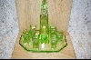 Czechoslovakian Green Glass Shot Glass & Decanter Set #5059