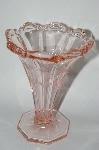 ** Vintage Pink Depression Glass Light Pink Floral Etched Vase