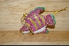 Set Of 2 Beautiful Pink & Green Fish Ornaments #5082