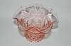 **Vintage Pink Depression Glass Wide Top Floral Look Vase