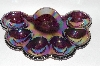 "**MBA #63-098   "" Vintage Purple Carnival Glass 1950's Deviled Egg Dish"