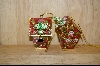 Set Of 2 Red Bird Houses W /Small Birds Attached Ornaments #4987
