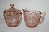 """SOLD""  Vintage Pink Depression Glass ""Cherry Blossom"" Cream & Sugar Bowl Set"