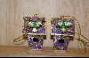 Set Of 2 Lavender Bird House Ornaments #9991