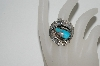 **MBA #65-164  Sterling Blue Turquoise Fancy Leaf Ring