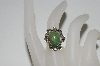 "**MBA #65-216   Sterling ""Navajo"" Green Turquoise Ring"