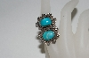 **MBA #65-099   Sterling Blue Turquoise 2 Stone Fancy Ring
