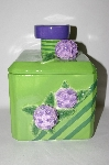 "+MBA #69-062   "" Large Green 3D Purple Flower Square Ceramic Cookie Jar"