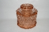 "MBA #69-225   "" Small Pink Glass Fancy Patterned Canister"