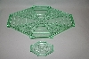 Vintage Green Glass 6 Piece Vanity Set