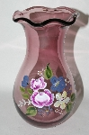 "MBA #69-030   ""Hand Painted Purple Art Glass Vase"