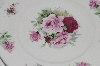 +MBA #69-152  White Ceramic & Pink & Red Rose's Serving Plate