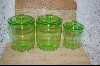 Set Of 3 Green Glass Canisters #5103