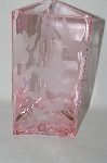 "**MBA #69-158    ""Pink Glass Etched Butterfly Vase"