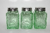 "MBA #69-202   ""Set Of 3 Vintage Reproduction Green Glass Spice Jars"